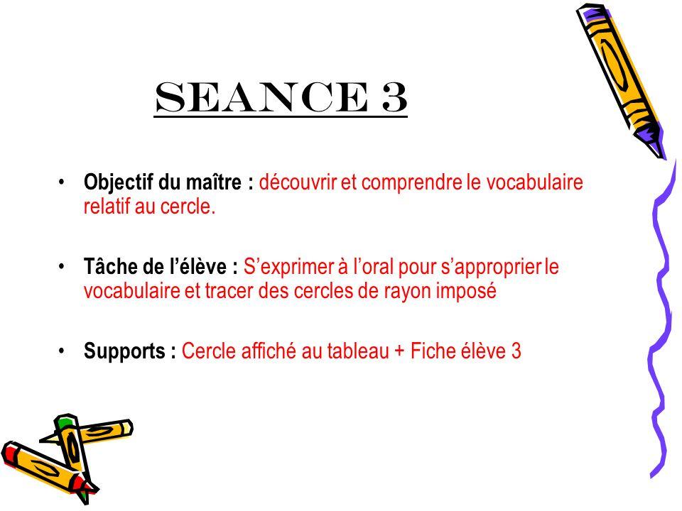 SEANCE 3 Objectif du maître : découvrir et comprendre le vocabulaire relatif au cercle.