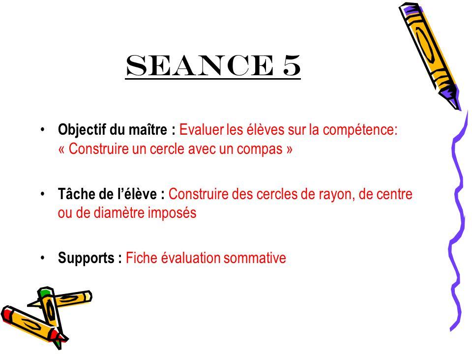 SEANCE 5 Objectif du maître : Evaluer les élèves sur la compétence: « Construire un cercle avec un compas »