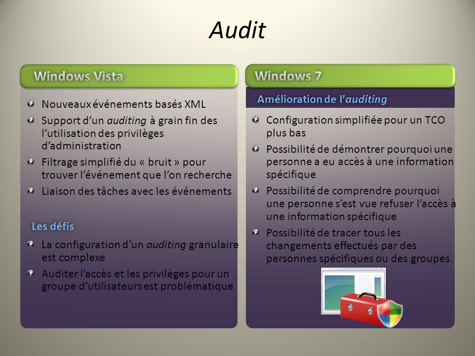 Audit Windows Vista Windows 7 Amélioration de l'auditing