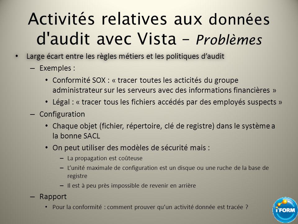 Activités relatives aux données d audit avec Vista – Problèmes