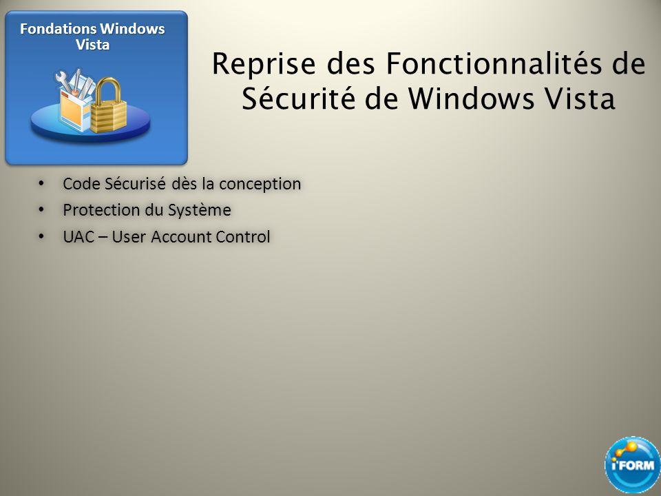 Reprise des Fonctionnalités de Sécurité de Windows Vista