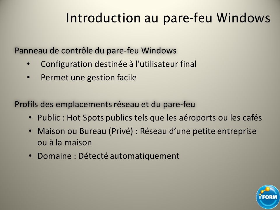 Introduction au pare-feu Windows