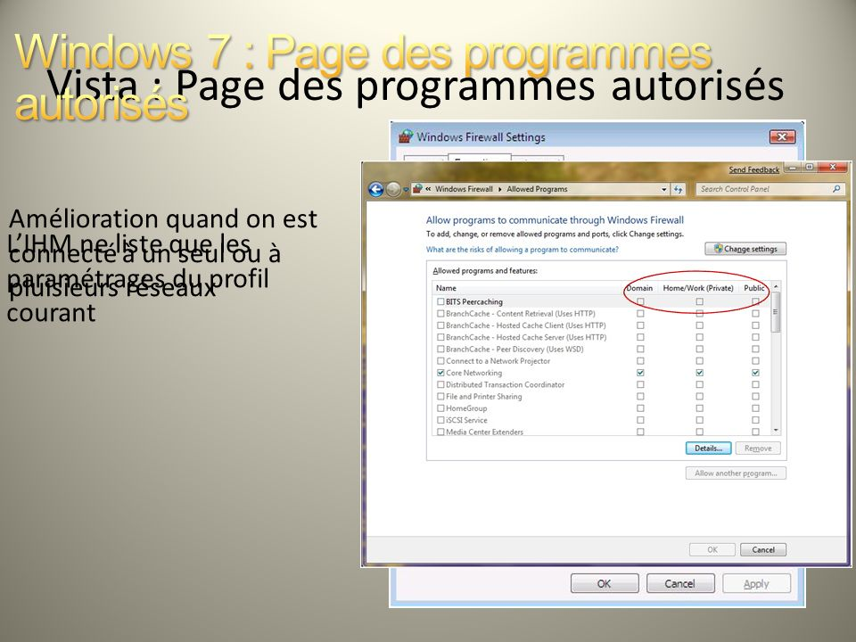 Vista : Page des programmes autorisés