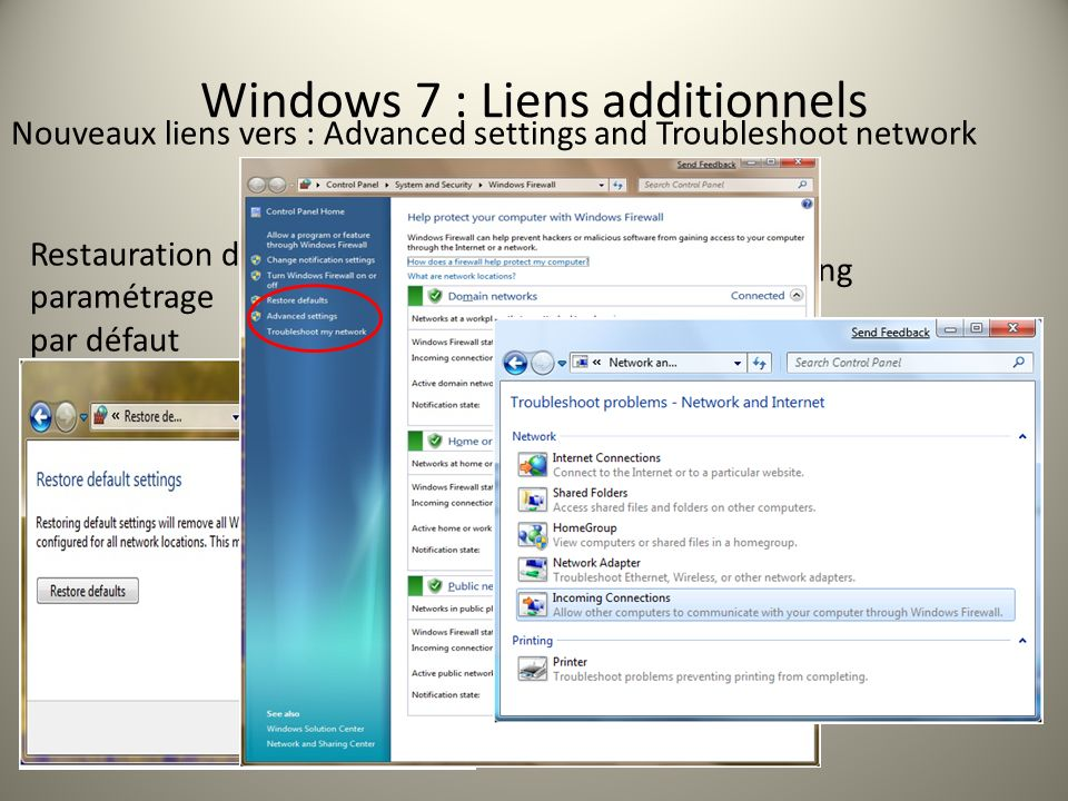 Windows 7 : Liens additionnels