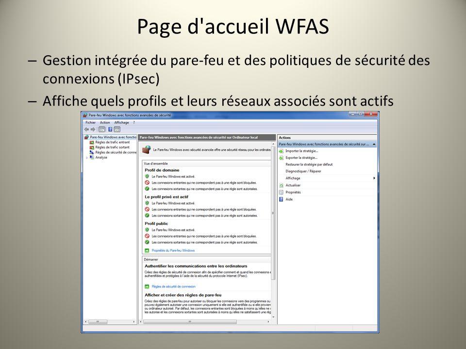 Page d accueil WFAS Gestion intégrée du pare-feu et des politiques de sécurité des connexions (IPsec)