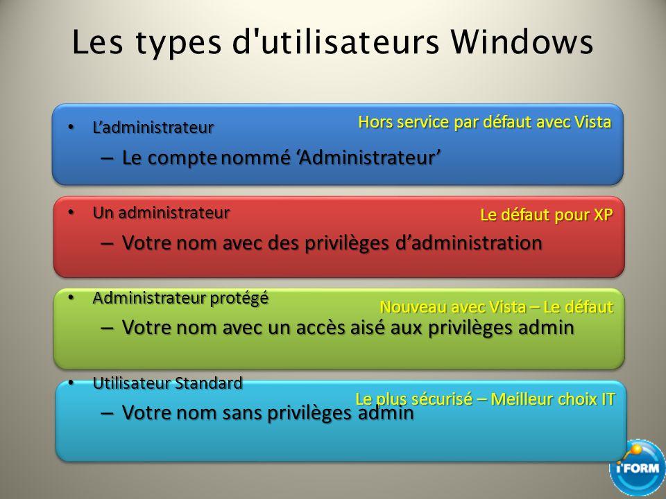 Les types d utilisateurs Windows