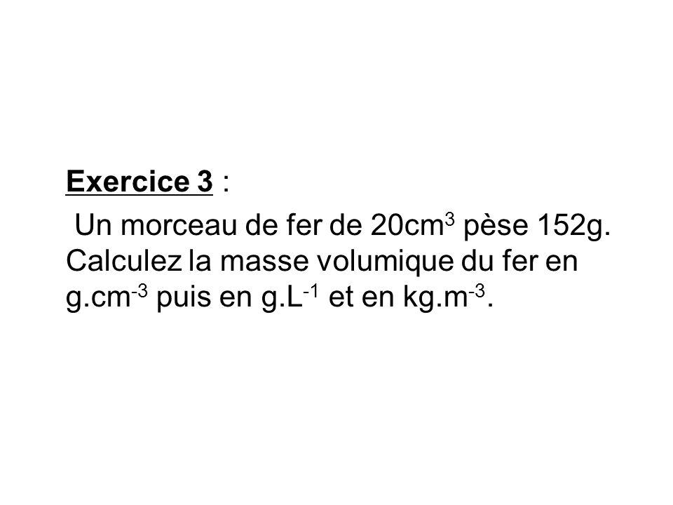 Exercice 3 : Un morceau de fer de 20cm3 pèse 152g.