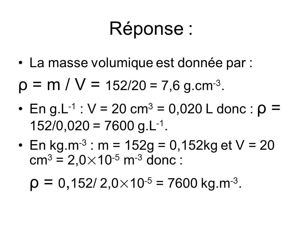 Réponse : ρ = m / V = 152/20 = 7,6 g.cm-3.