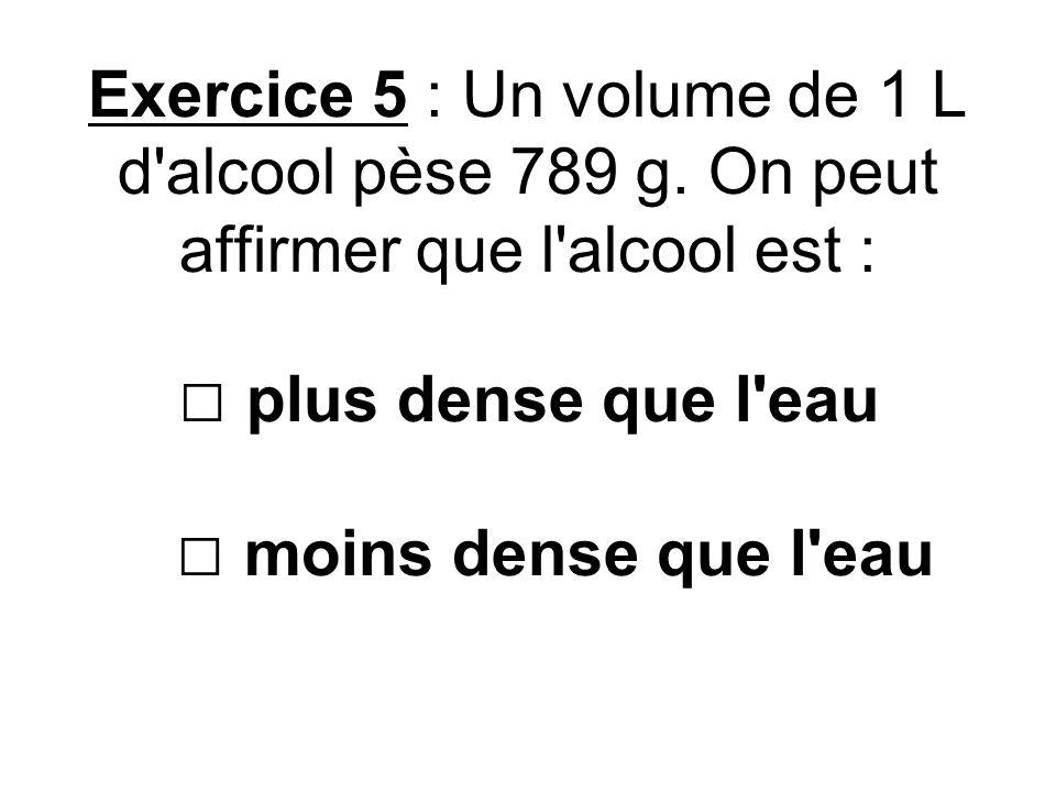 Exercice 5 : Un volume de 1 L d alcool pèse 789 g