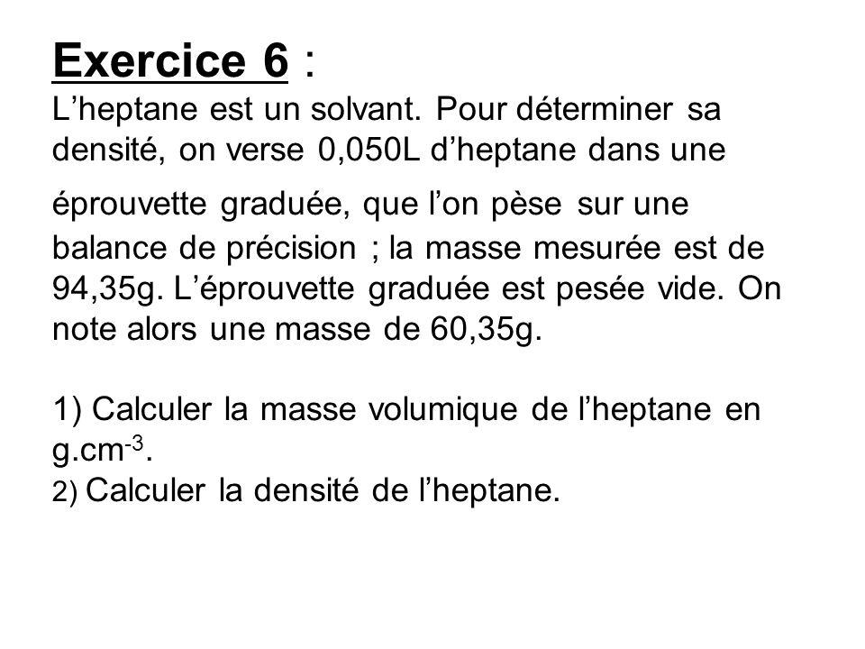 Exercice 6 : L'heptane est un solvant