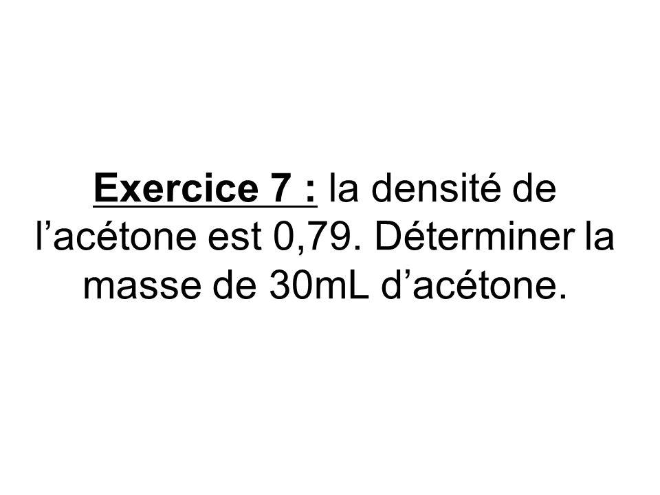 Exercice 7 : la densité de l'acétone est 0,79