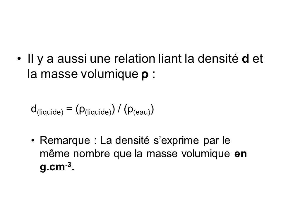 Il y a aussi une relation liant la densité d et la masse volumique ρ :