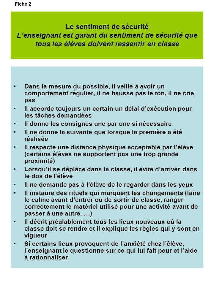 Fiche 2 Le sentiment de sécurité L'enseignant est garant du sentiment de sécurité que tous les élèves doivent ressentir en classe.