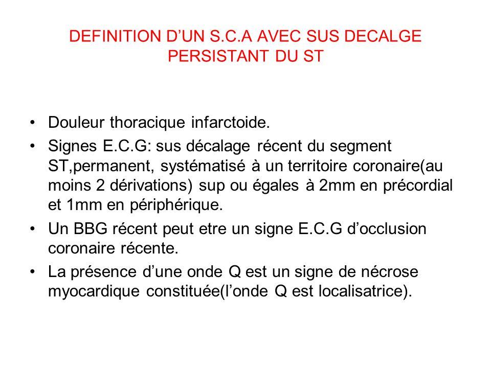DEFINITION D'UN S.C.A AVEC SUS DECALGE PERSISTANT DU ST