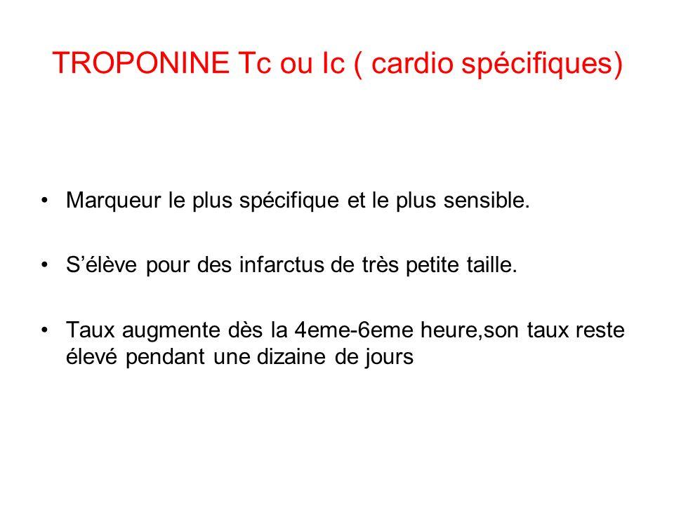 TROPONINE Tc ou Ic ( cardio spécifiques)
