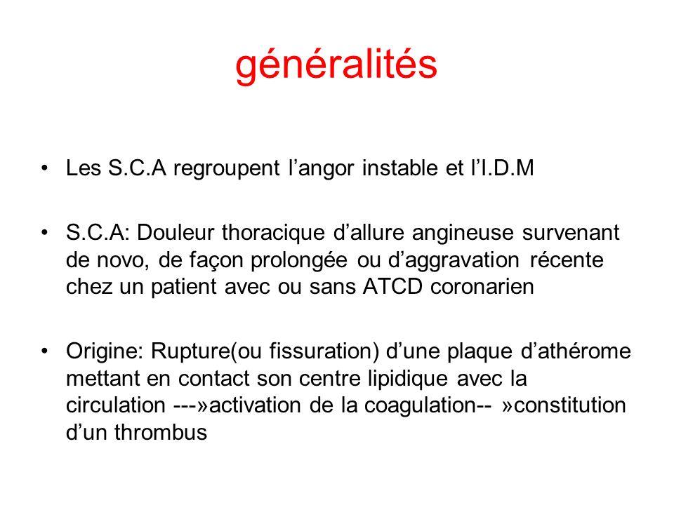 généralités Les S.C.A regroupent l'angor instable et l'I.D.M
