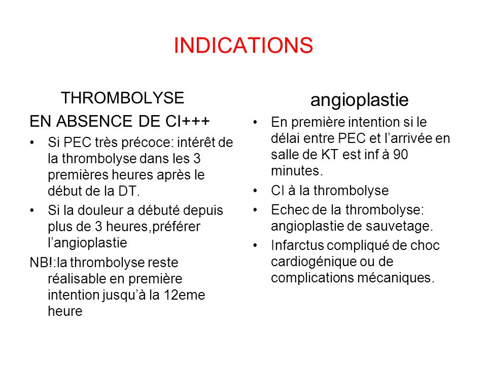 INDICATIONS angioplastie THROMBOLYSE EN ABSENCE DE CI+++