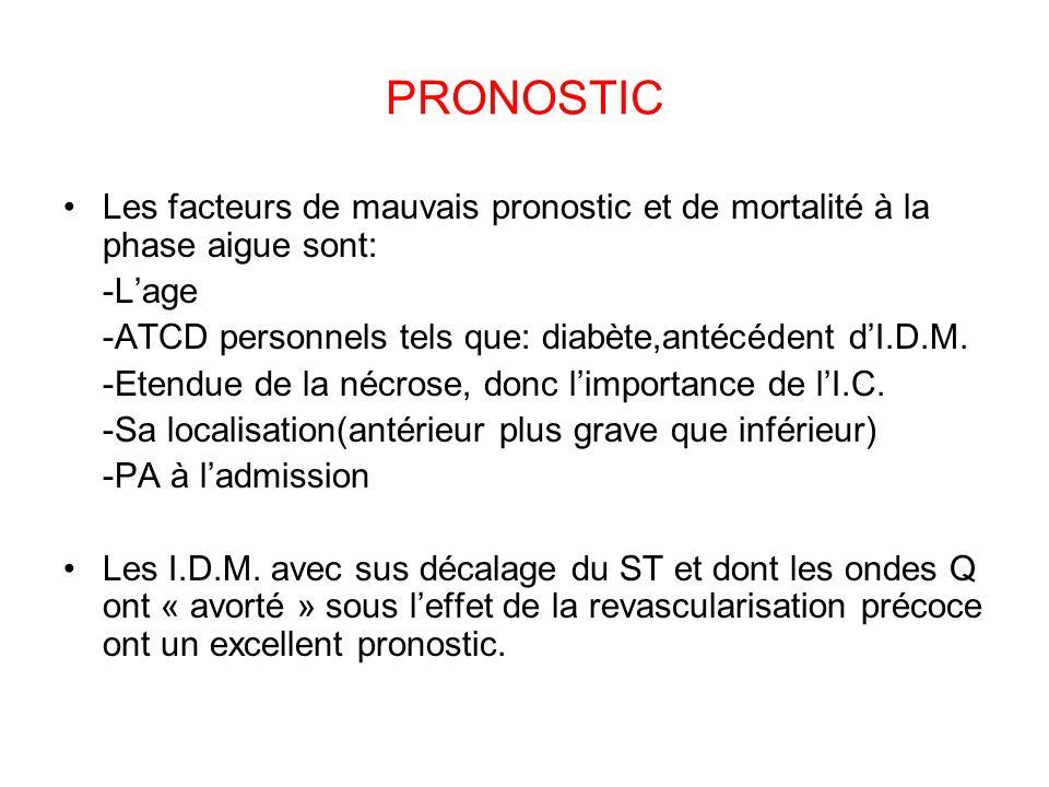 PRONOSTIC Les facteurs de mauvais pronostic et de mortalité à la phase aigue sont: -L'age. -ATCD personnels tels que: diabète,antécédent d'I.D.M.