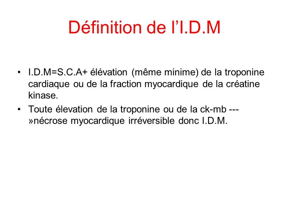 Définition de l'I.D.M I.D.M=S.C.A+ élévation (même minime) de la troponine cardiaque ou de la fraction myocardique de la créatine kinase.