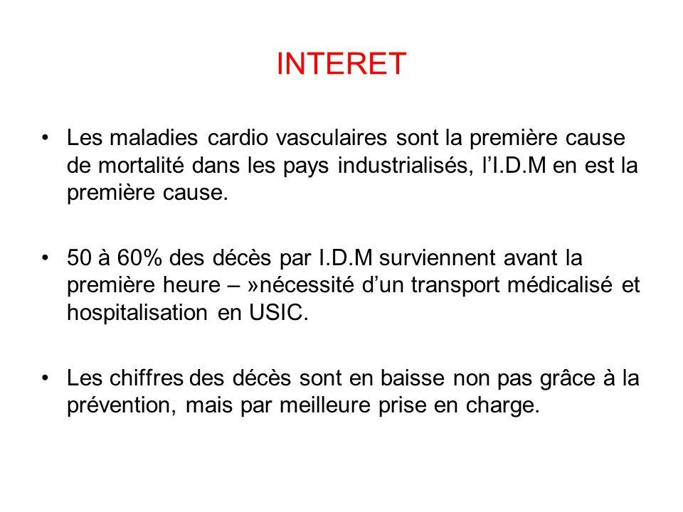 INTERET Les maladies cardio vasculaires sont la première cause de mortalité dans les pays industrialisés, l'I.D.M en est la première cause.