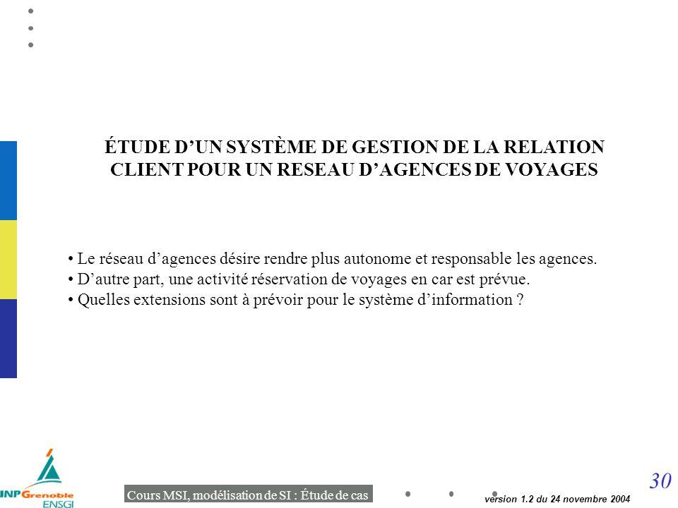 ÉTUDE D'UN SYSTÈME DE GESTION DE LA RELATION CLIENT POUR UN RESEAU D'AGENCES DE VOYAGES