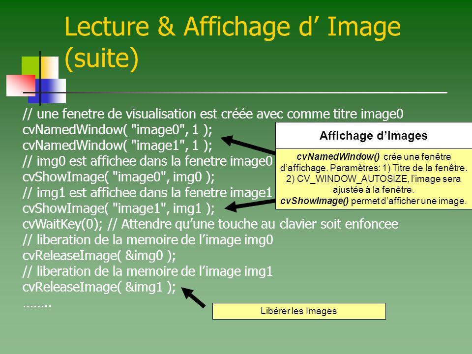 cvShowImage() permet d'afficher une image.
