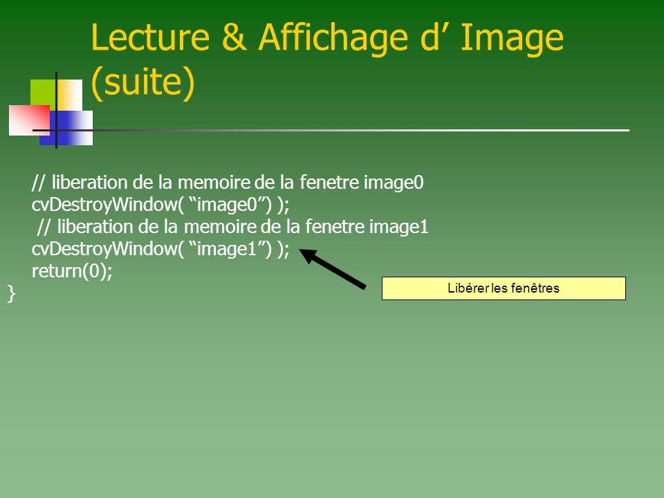 Lecture & Affichage d' Image (suite)