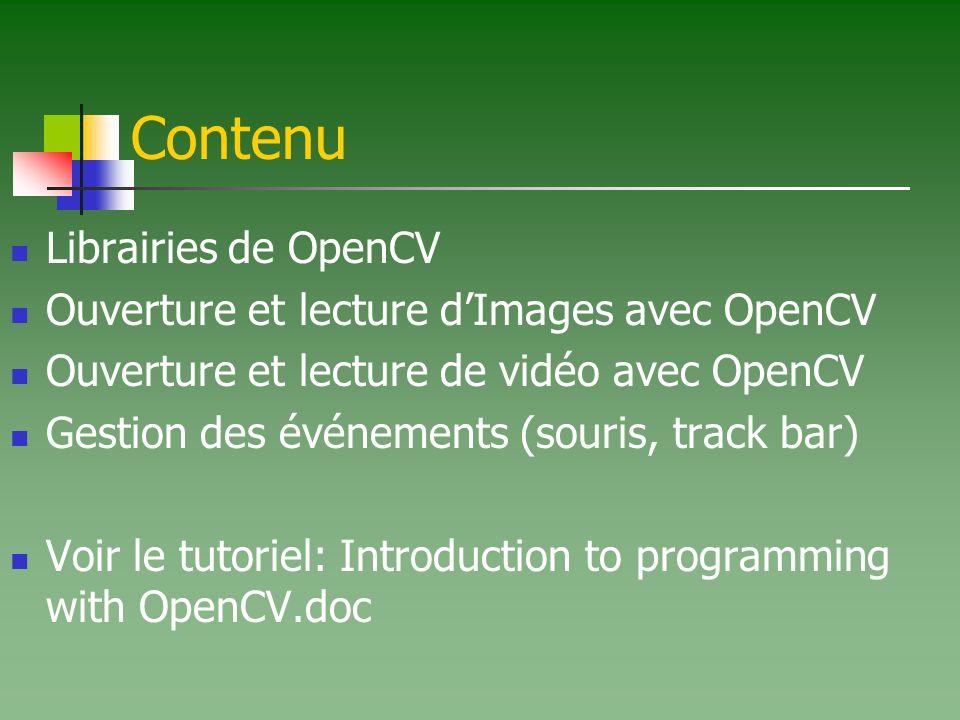 Contenu Librairies de OpenCV Ouverture et lecture d'Images avec OpenCV