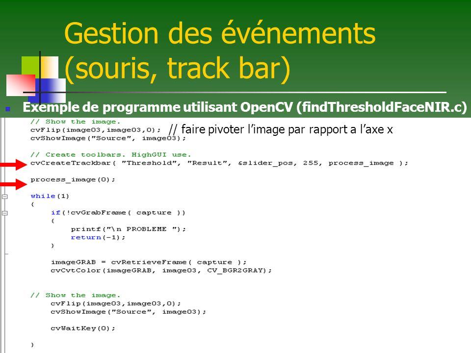 Gestion des événements (souris, track bar)