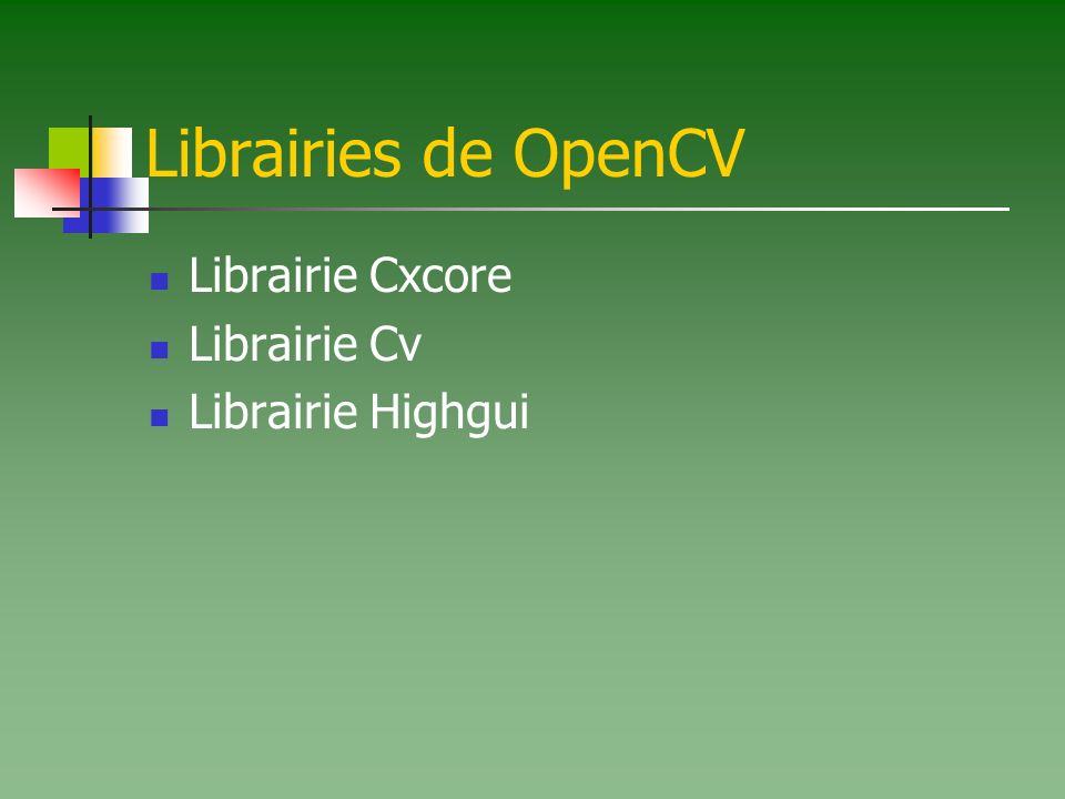 Librairies de OpenCV Librairie Cxcore Librairie Cv Librairie Highgui