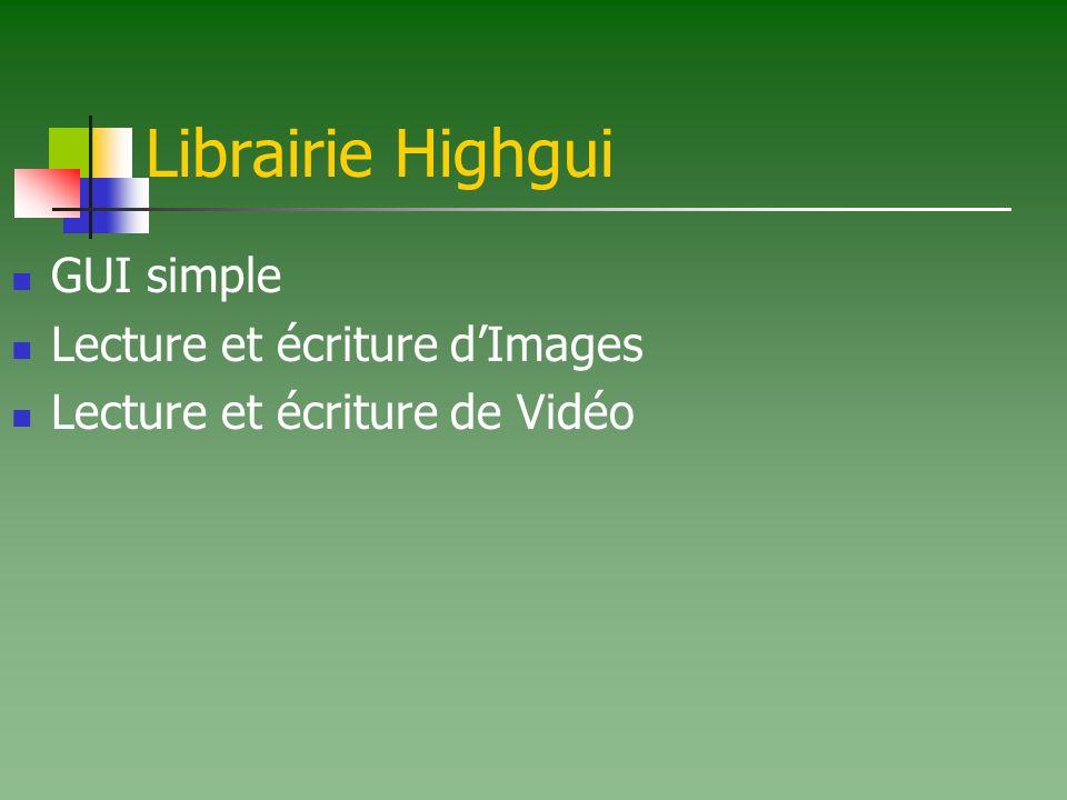 Librairie Highgui GUI simple Lecture et écriture d'Images
