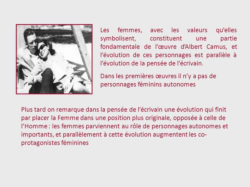 Les femmes, avec les valeurs qu'elles symbolisent, constituent une partie fondamentale de l'œuvre d'Albert Camus, et l'évolution de ces personnages est parallèle à l'évolution de la pensée de l'écrivain.