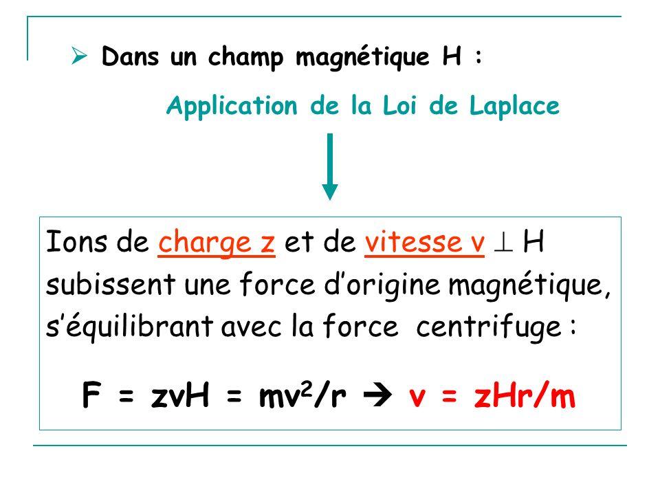  Dans un champ magnétique H :