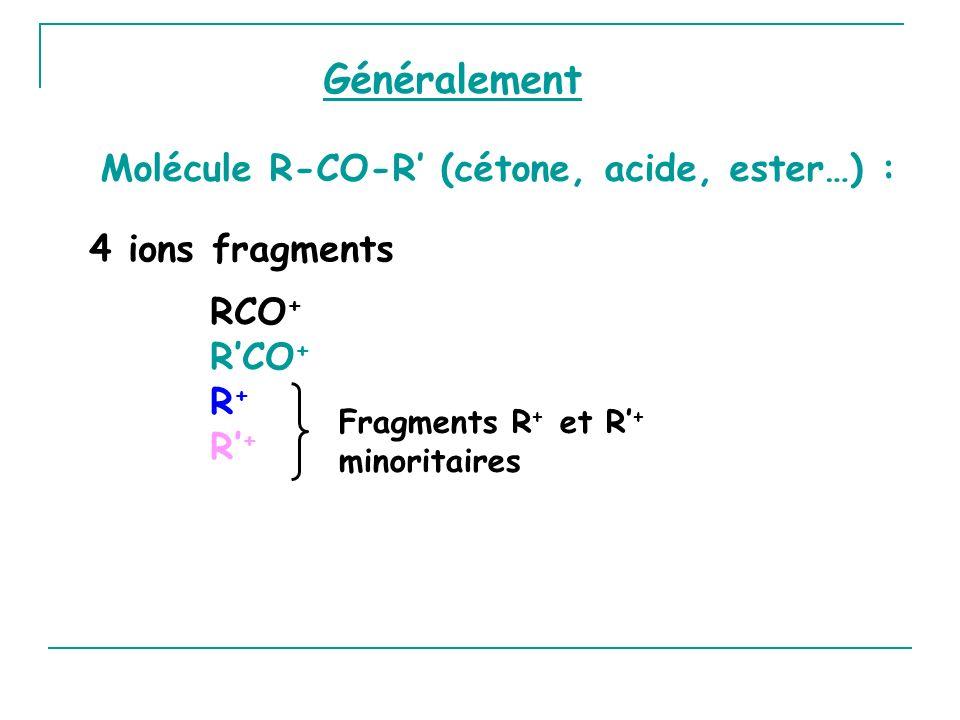 Généralement Molécule R-CO-R' (cétone, acide, ester…) :