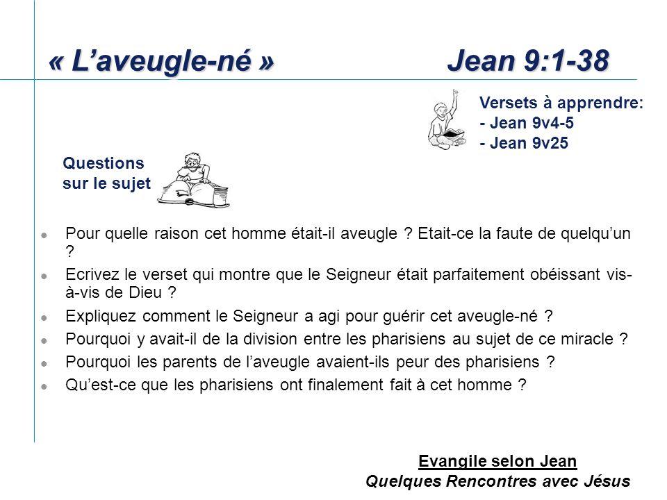 « L'aveugle-né » Jean 9:1-38