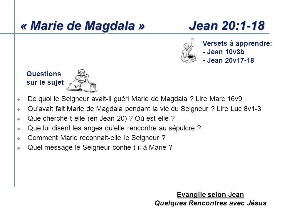 « Marie de Magdala » Jean 20:1-18
