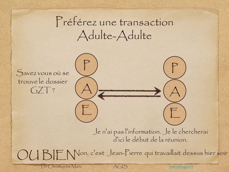 Préférez une transaction Adulte-Adulte