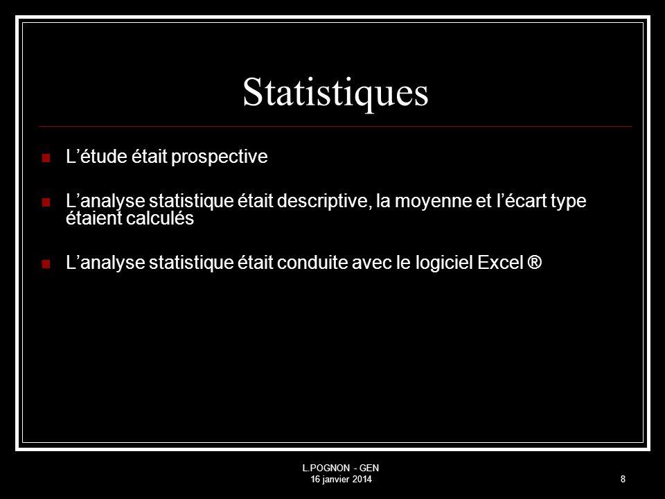 Statistiques L'étude était prospective