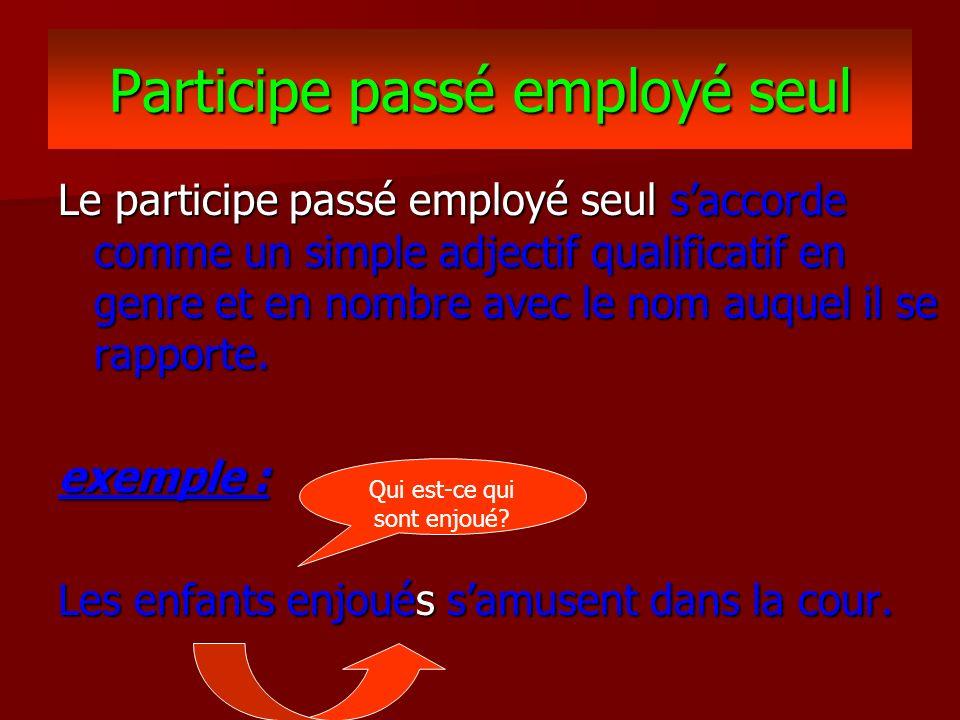 Participe passé employé seul