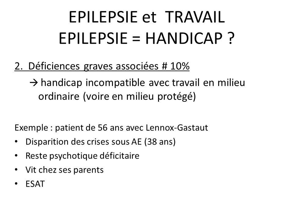 EPILEPSIE et TRAVAIL EPILEPSIE = HANDICAP