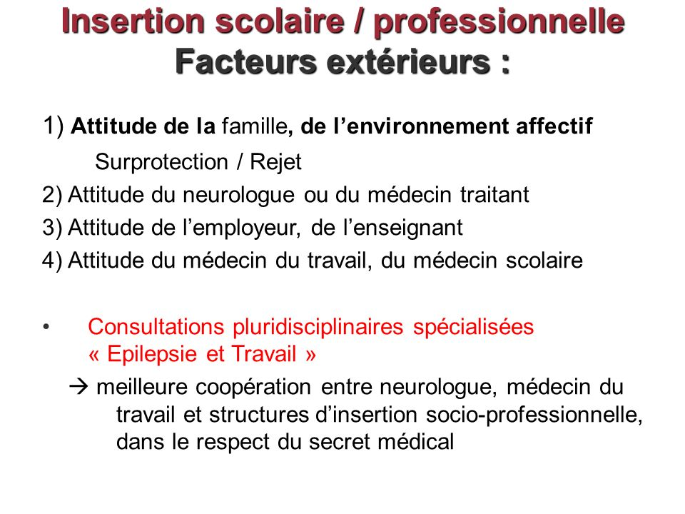 Insertion scolaire / professionnelle Facteurs extérieurs :