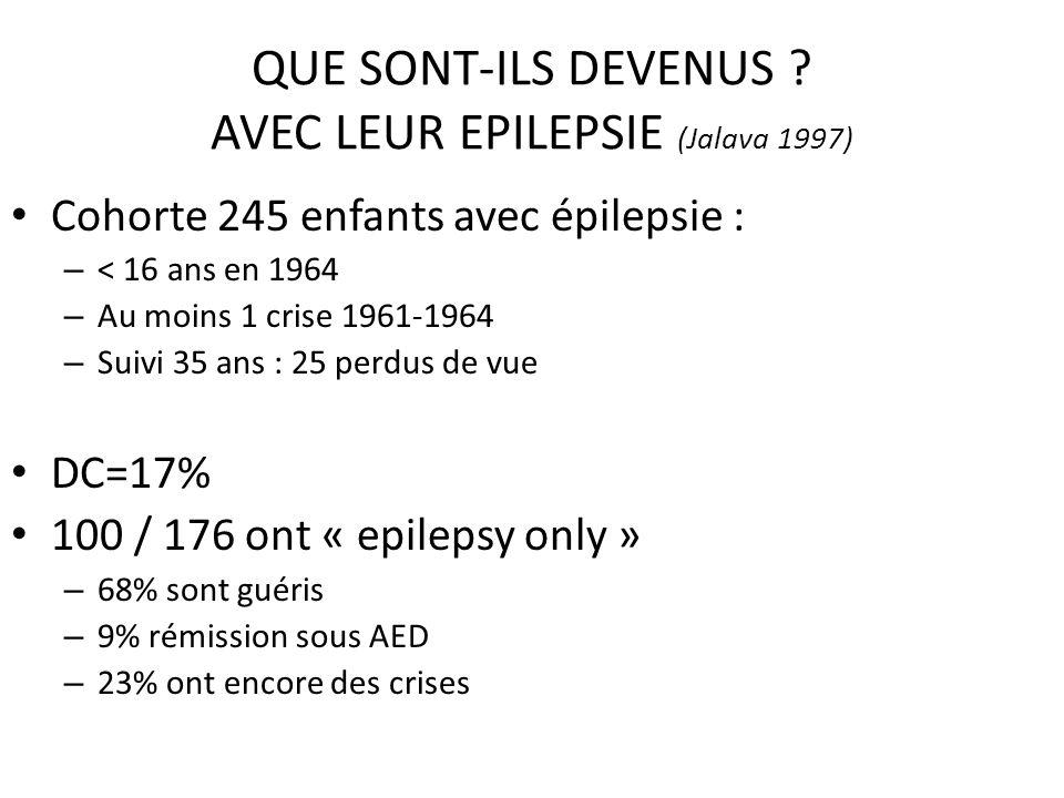 QUE SONT-ILS DEVENUS AVEC LEUR EPILEPSIE (Jalava 1997)