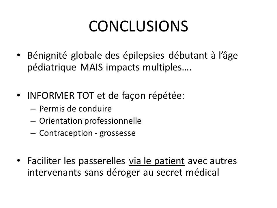 CONCLUSIONS Bénignité globale des épilepsies débutant à l'âge pédiatrique MAIS impacts multiples…. INFORMER TOT et de façon répétée: