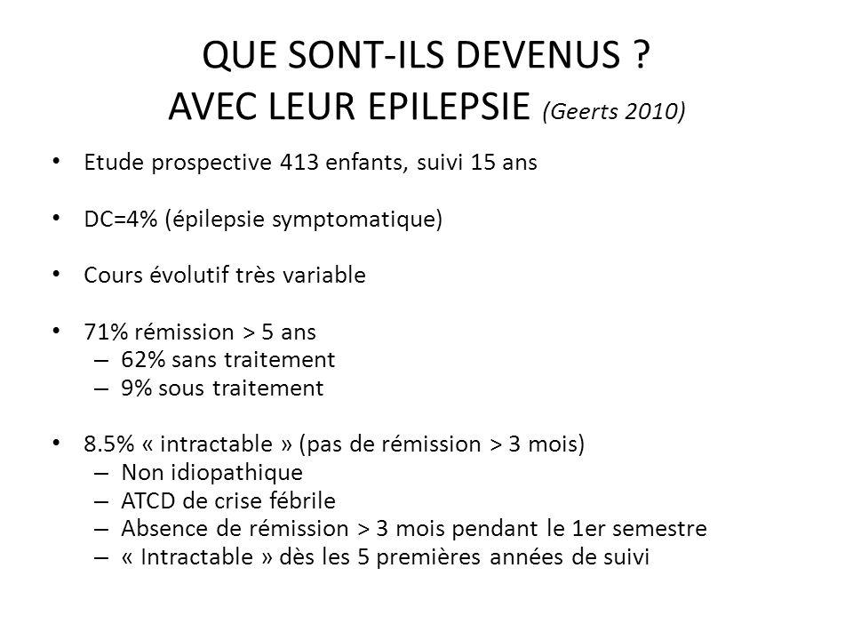 QUE SONT-ILS DEVENUS AVEC LEUR EPILEPSIE (Geerts 2010)