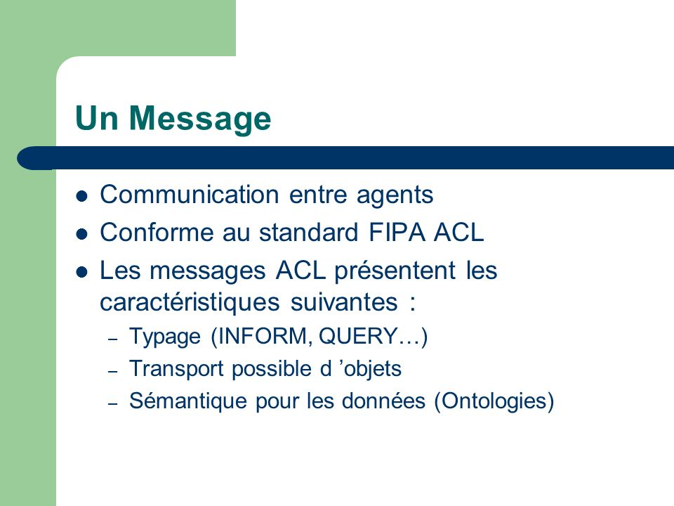 Un Message Communication entre agents Conforme au standard FIPA ACL