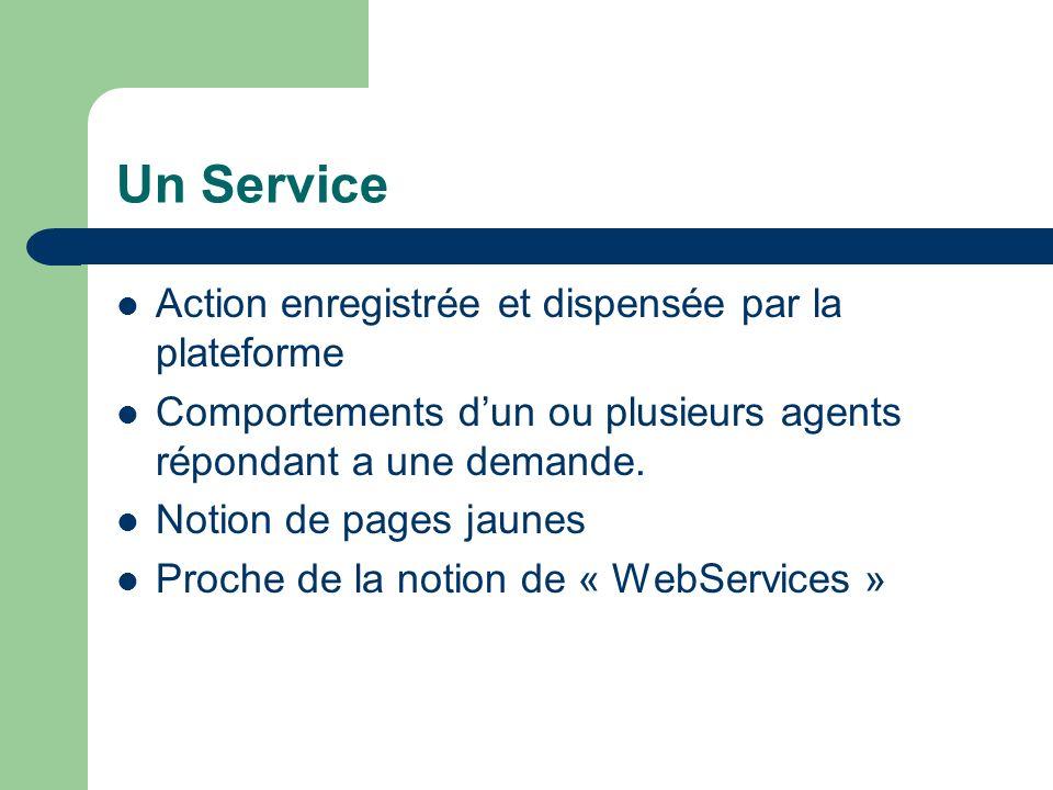 Un Service Action enregistrée et dispensée par la plateforme