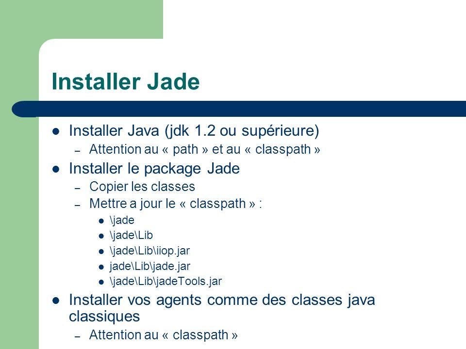 Installer Jade Installer Java (jdk 1.2 ou supérieure)