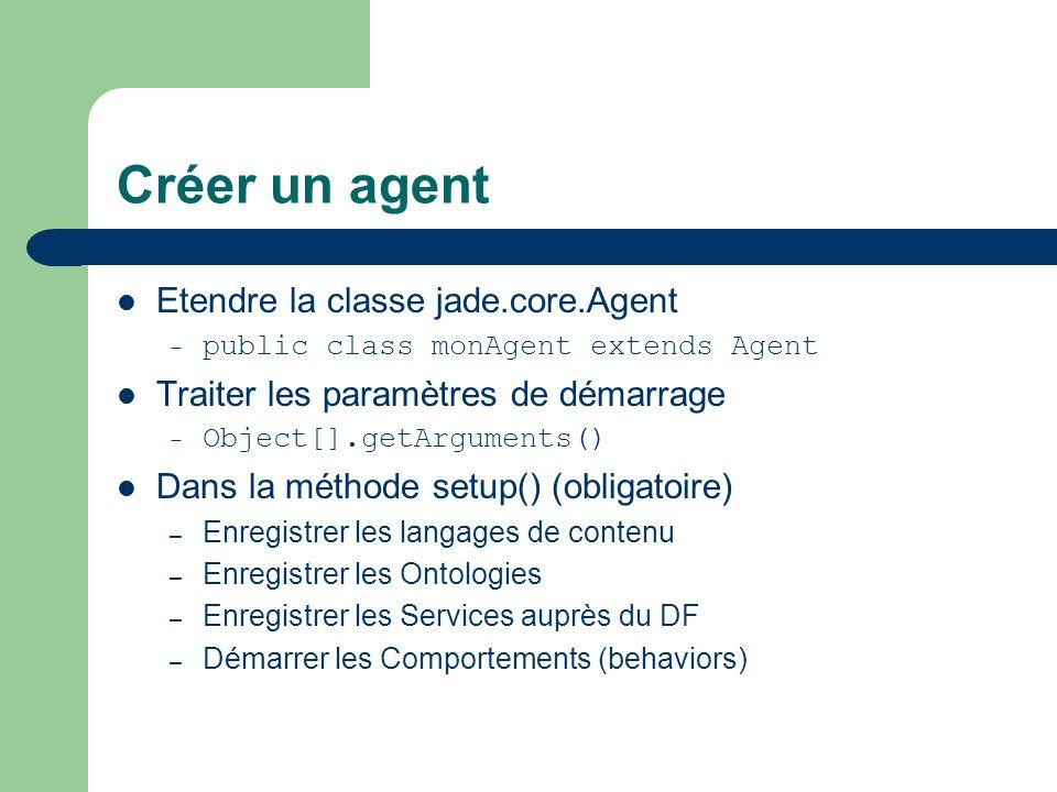 Créer un agent Etendre la classe jade.core.Agent