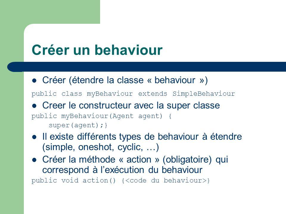 Créer un behaviour Créer (étendre la classe « behaviour »)