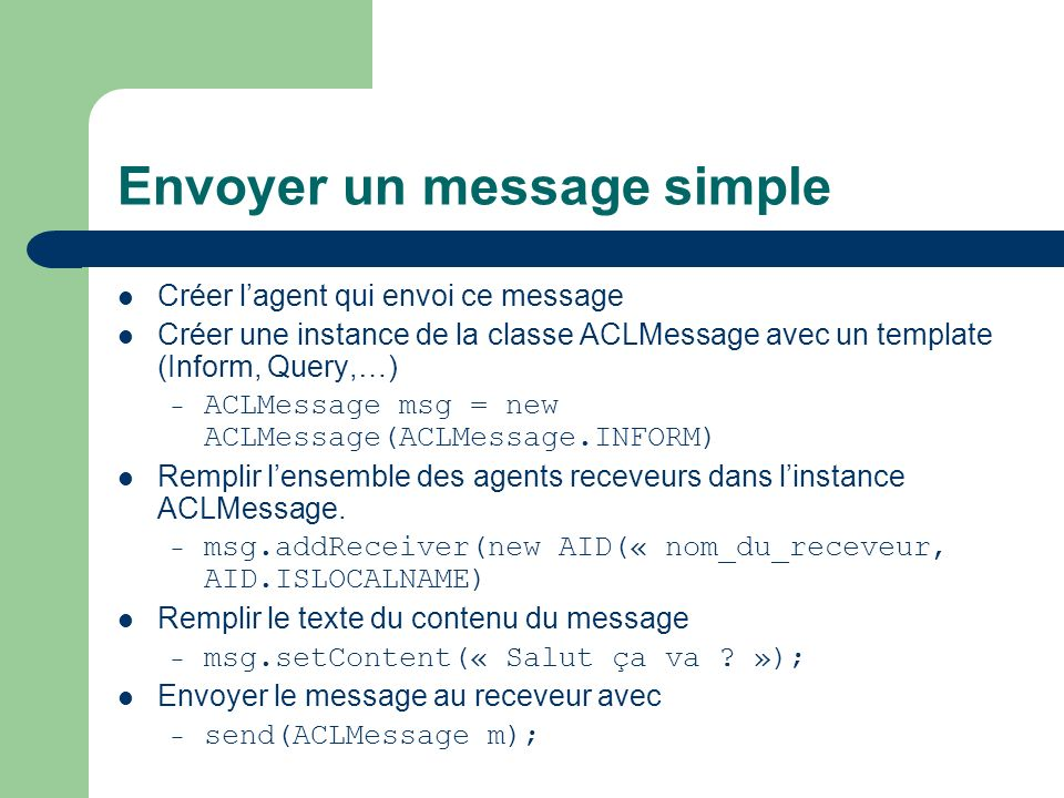 Envoyer un message simple